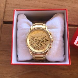 Coach gold link watch
